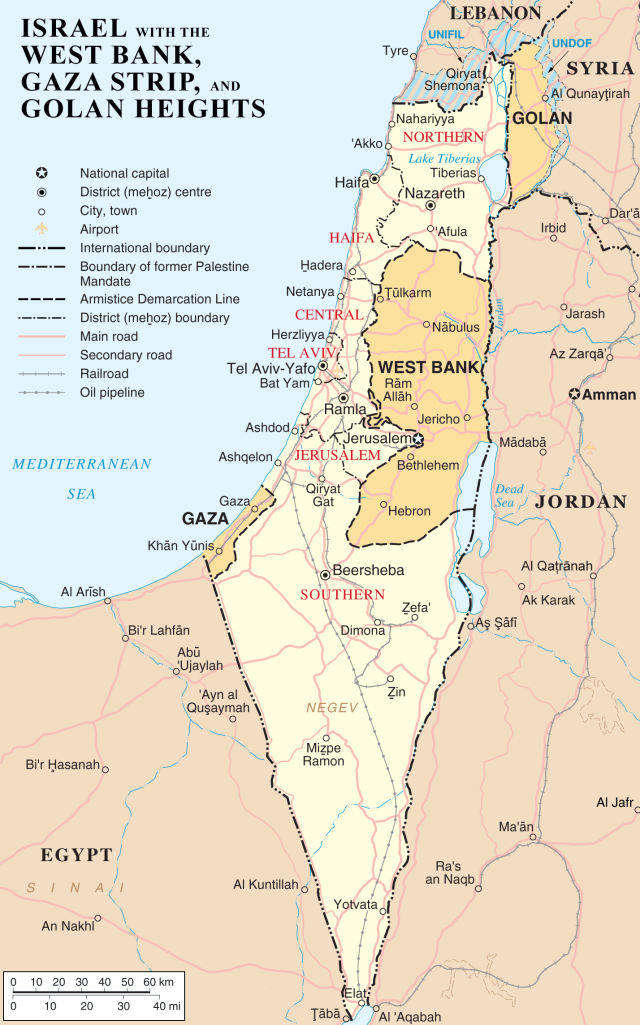 Israel and the disputed West Bank, showing the location of Hebron.